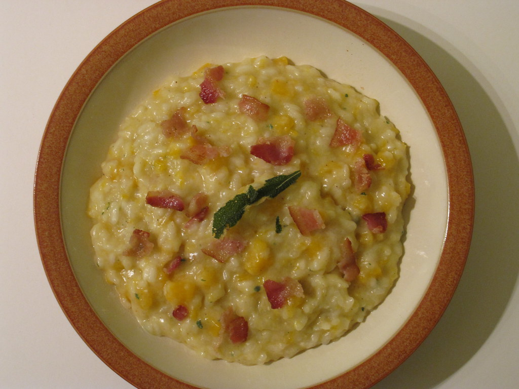 Butternut Squash Risotto in an orange bowl